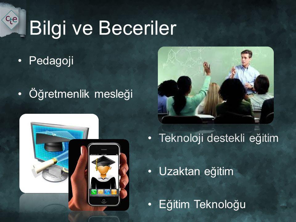 Bilgi ve Beceriler •Pedagoji •Öğretmenlik mesleği •Teknoloji destekli eğitim •Uzaktan eğitim •Eğitim Teknoloğu