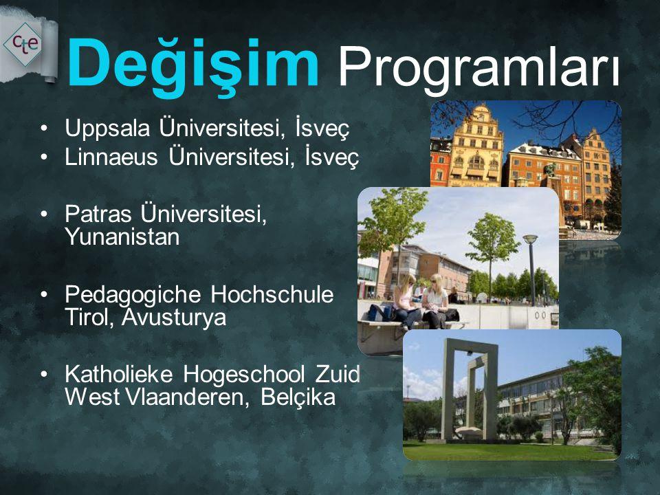 Değişim Programları •Uppsala Üniversitesi, İsveç •Linnaeus Üniversitesi, İsveç •Patras Üniversitesi, Yunanistan •Pedagogiche Hochschule Tirol, Avusturya •Katholieke Hogeschool Zuid West Vlaanderen, Belçika