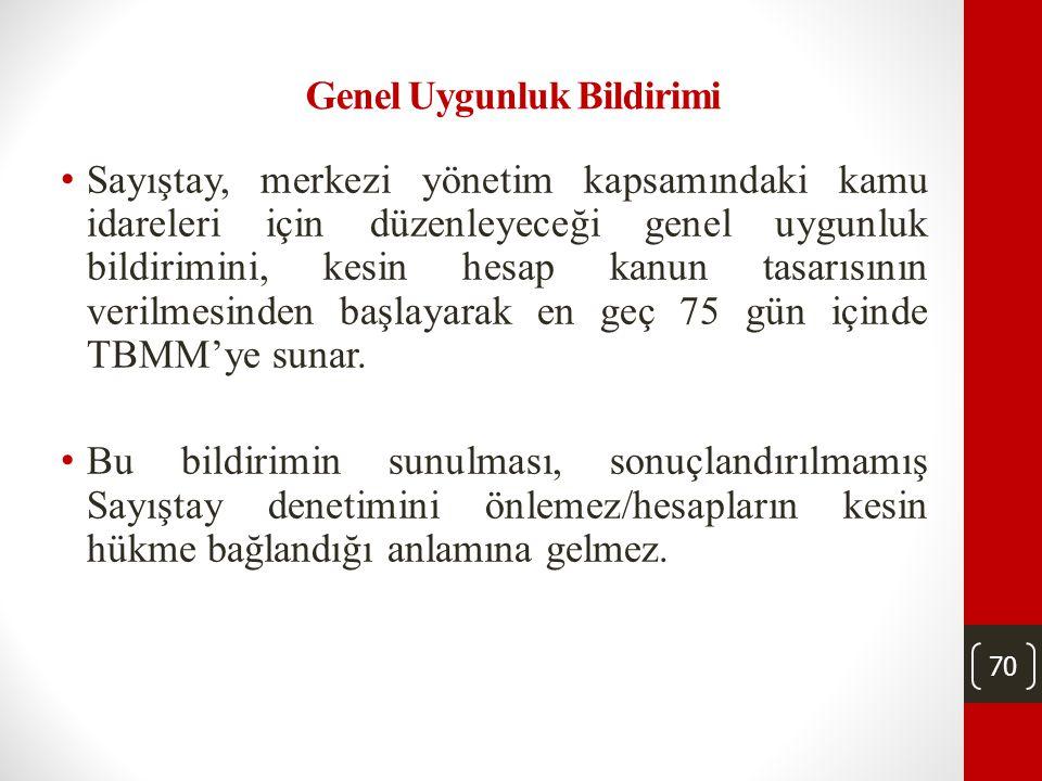 69 Kesin Hesap Kanunu • Türkiye Büyük Millet Meclisi, merkezî yönetim bütçe kanununun uygulama sonuçlarını onama yetkisini kesin hesap kanunuyla kulla
