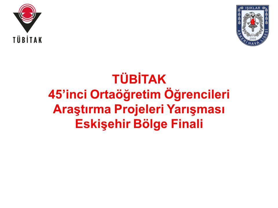 TÜBİTAK 45'inci Ortaöğretim Öğrencileri Araştırma Projeleri Yarışmasına Eskişehir Bölgesine 1267 proje başvurmuştur.