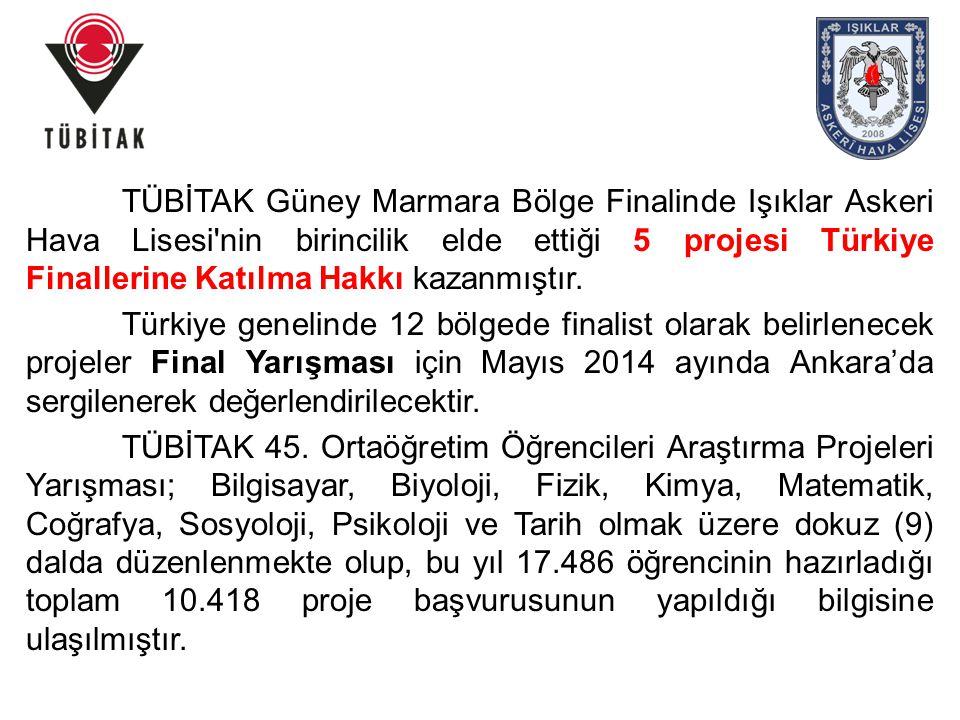 TÜBİTAK Güney Marmara Bölge Finalinde Işıklar Askeri Hava Lisesi'nin birincilik elde ettiği 5 projesi Türkiye Finallerine Katılma Hakkı kazanmıştır. T