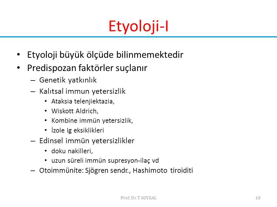 Prof. Dr. T SOYSAL18 Etyoloji-I • Etyoloji büyük ölçüde bilinmemektedir • Predispozan faktörler suçlanır – Genetik yatkınlık – Kalıtsal immun yetersiz