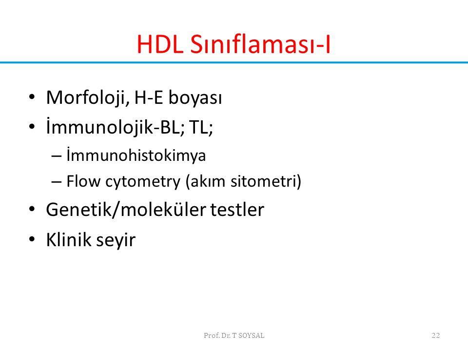 Prof. Dr. T SOYSAL22 HDL Sınıflaması-I • Morfoloji, H-E boyası • İmmunolojik-BL; TL; – İmmunohistokimya – Flow cytometry (akım sitometri) • Genetik/mo