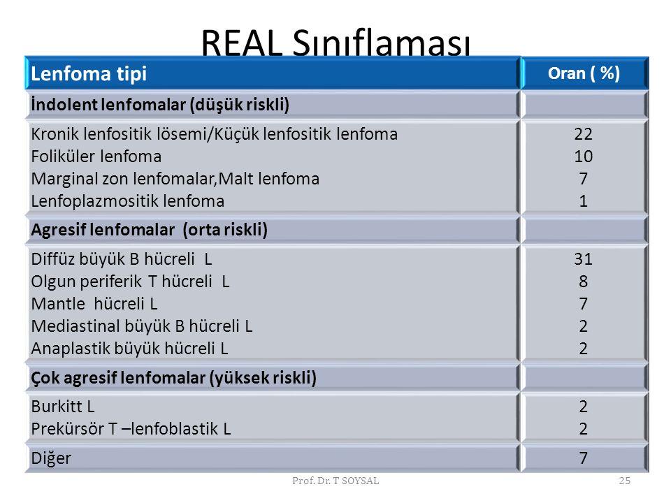 REAL Sınıflaması Lenfoma tipi Oran ( %) İndolent lenfomalar (düşük riskli) Kronik lenfositik lösemi/Küçük lenfositik lenfoma Foliküler lenfoma Margina