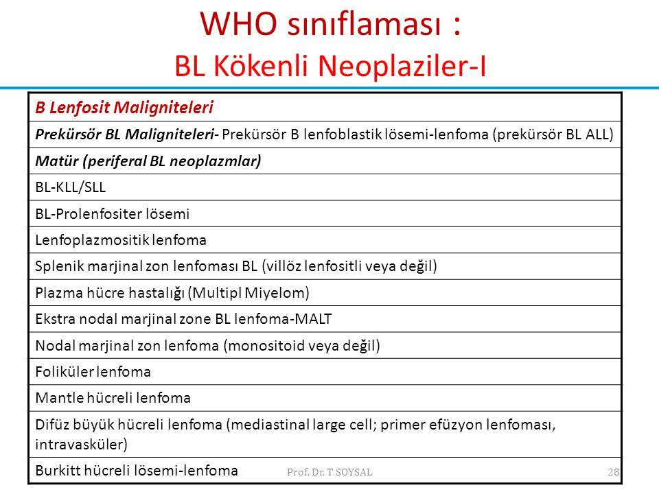 Prof. Dr. T SOYSAL28 WHO sınıflaması : BL Kökenli Neoplaziler-I B Lenfosit Maligniteleri Prekürsör BL Maligniteleri- Prekürsör B lenfoblastik lösemi-l