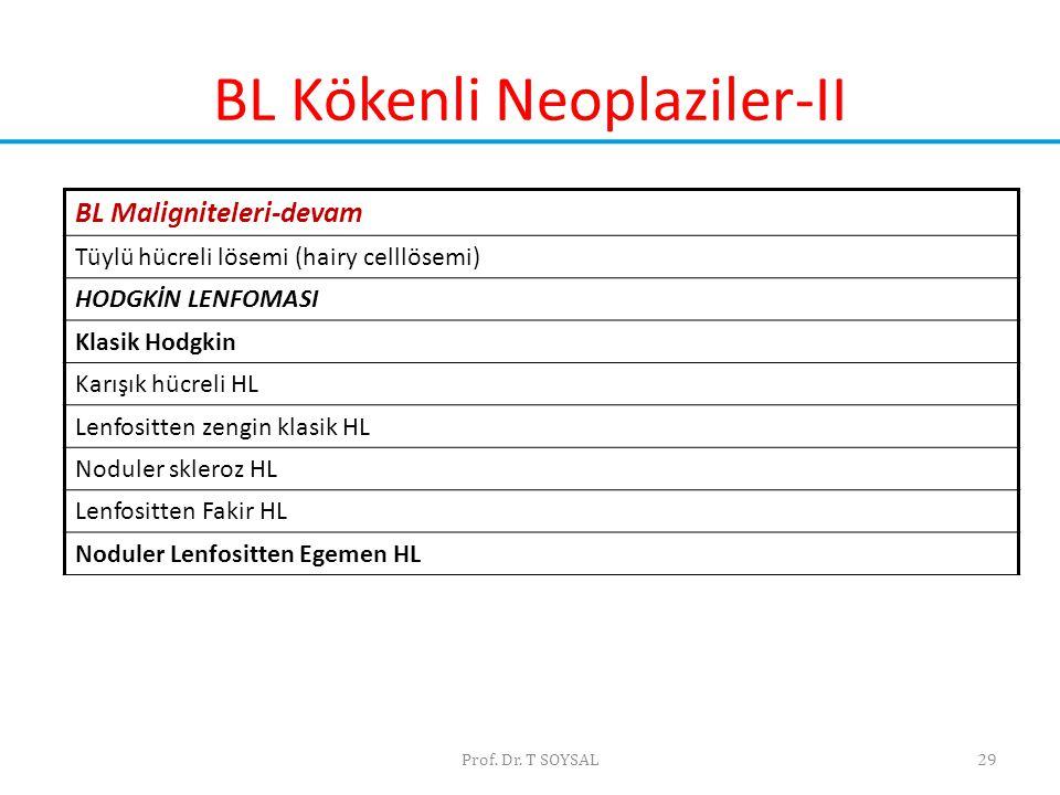 BL Kökenli Neoplaziler-II Prof. Dr. T SOYSAL29 BL Maligniteleri-devam Tüylü hücreli lösemi (hairy celllösemi) HODGKİN LENFOMASI Klasik Hodgkin Karışık