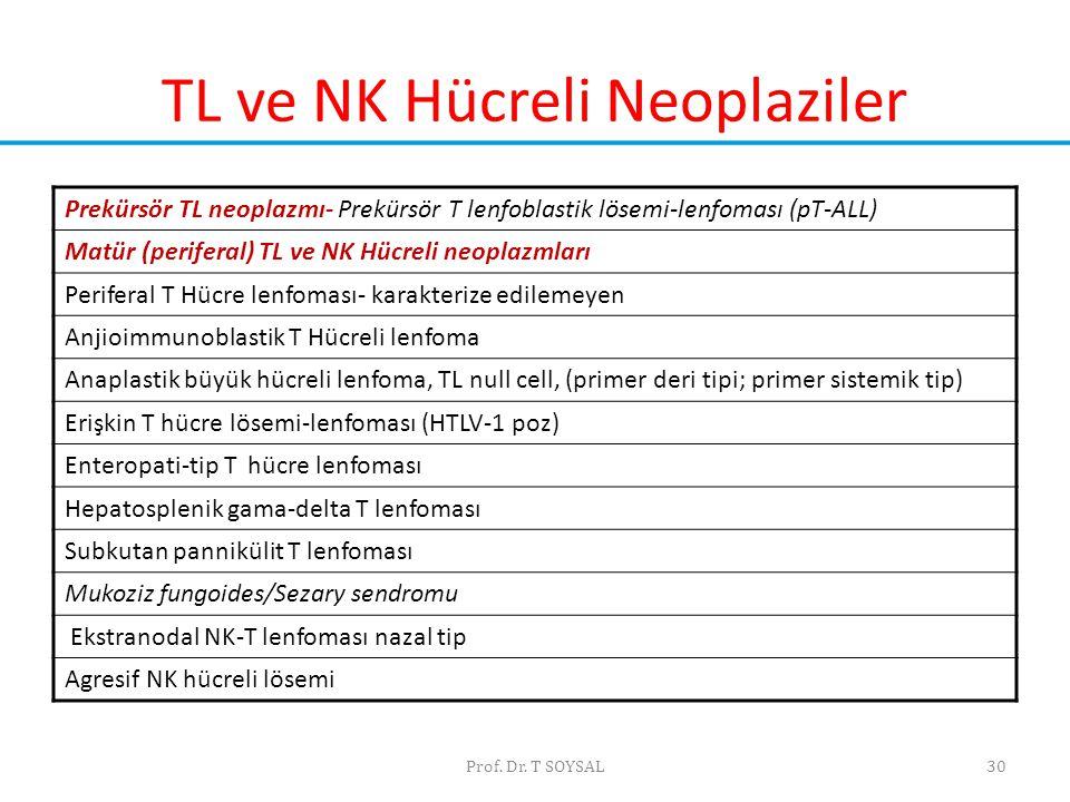 Prof. Dr. T SOYSAL30 TL ve NK Hücreli Neoplaziler Prekürsör TL neoplazmı- Prekürsör T lenfoblastik lösemi-lenfoması (pT-ALL) Matür (periferal) TL ve N