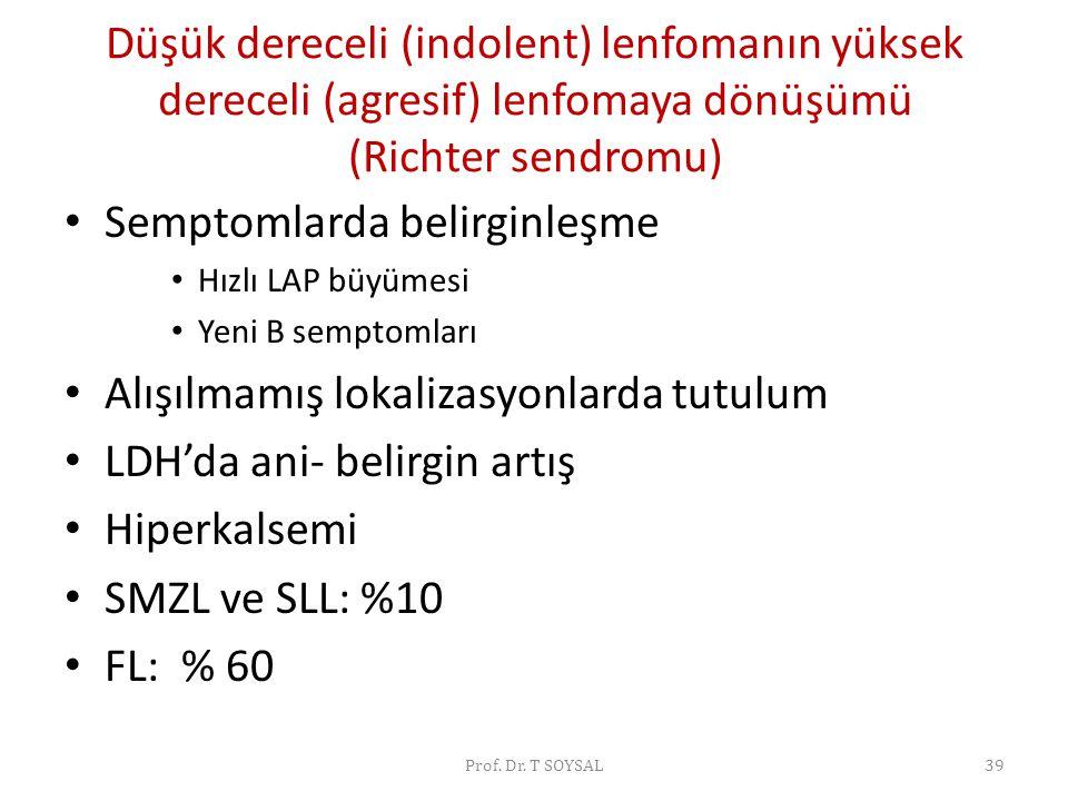 Düşük dereceli (indolent) lenfomanın yüksek dereceli (agresif) lenfomaya dönüşümü (Richter sendromu) • Semptomlarda belirginleşme • Hızlı LAP büyümesi