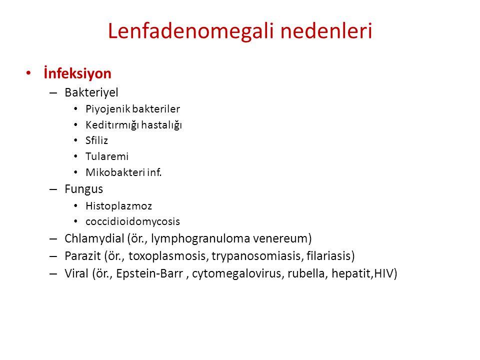Lenfadenomegali nedenleri • İnfeksiyon – Bakteriyel • Piyojenik bakteriler • Keditırmığı hastalığı • Sfiliz • Tularemi • Mikobakteri inf. – Fungus • H