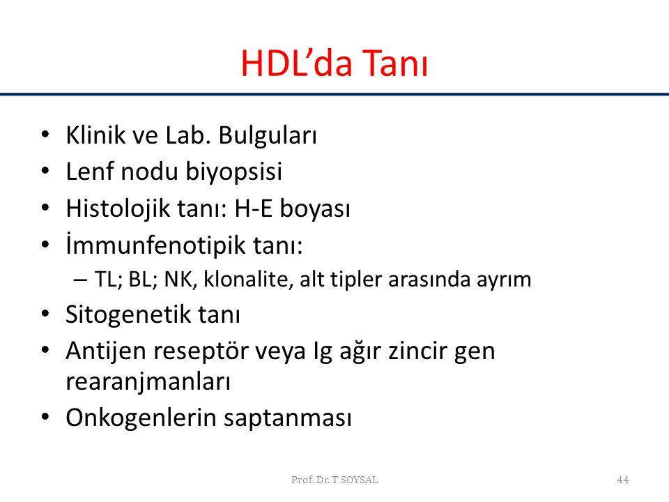 Prof. Dr. T SOYSAL44 HDL'da Tanı • Klinik ve Lab. Bulguları • Lenf nodu biyopsisi • Histolojik tanı: H-E boyası • İmmunfenotipik tanı: – TL; BL; NK, k