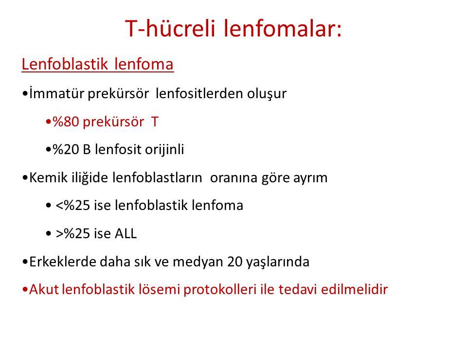 T-hücreli lenfomalar: Lenfoblastik lenfoma •İmmatür prekürsör lenfositlerden oluşur •%80 prekürsör T •%20 B lenfosit orijinli •Kemik iliğide lenfoblas