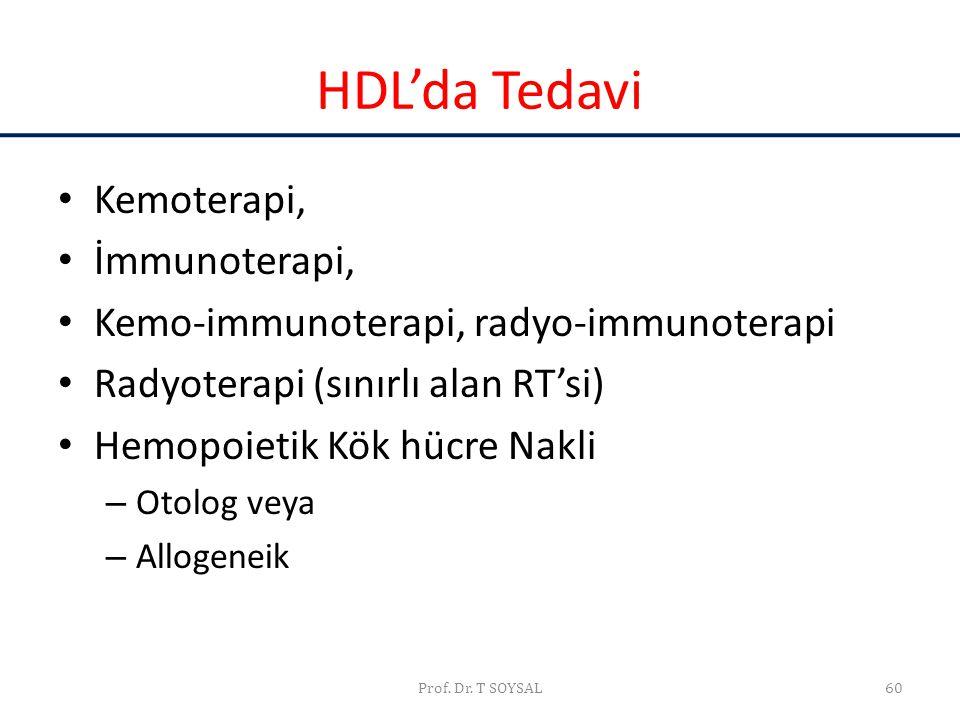 Prof. Dr. T SOYSAL60 HDL'da Tedavi • Kemoterapi, • İmmunoterapi, • Kemo-immunoterapi, radyo-immunoterapi • Radyoterapi (sınırlı alan RT'si) • Hemopoie