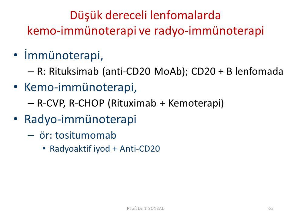 Düşük dereceli lenfomalarda kemo-immünoterapi ve radyo-immünoterapi • İmmünoterapi, – R: Rituksimab (anti-CD20 MoAb); CD20 + B lenfomada • Kemo-immüno