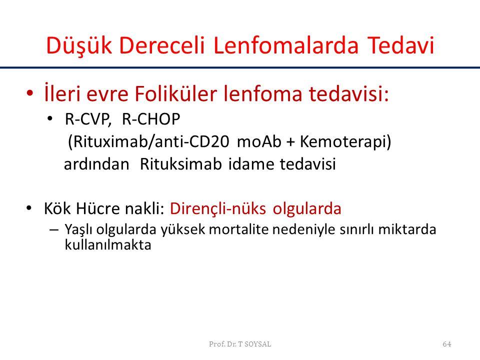 Prof. Dr. T SOYSAL64 Düşük Dereceli Lenfomalarda Tedavi • İleri evre Foliküler lenfoma tedavisi: • R-CVP, R-CHOP (Rituximab/anti-CD20 moAb + Kemoterap