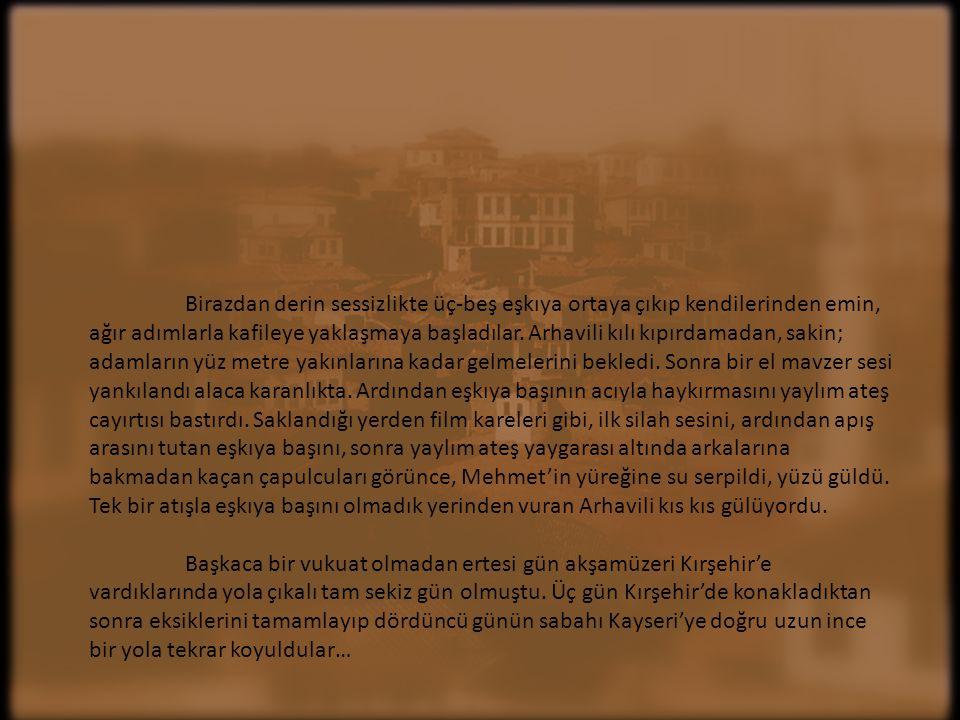 Yedinci günün akşamüzeri Kırşehir yakınlarında, kafileyi ormanlık alandan uyarı ateşi açan eşkıya durdurdu.