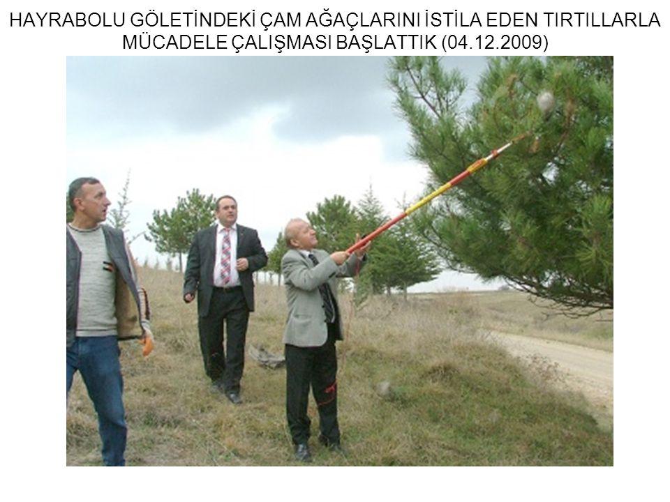 HAYRABOLU GÖLETİNDEKİ ÇAM AĞAÇLARINI İSTİLA EDEN TIRTILLARLA MÜCADELE ÇALIŞMASI BAŞLATTIK (04.12.2009)