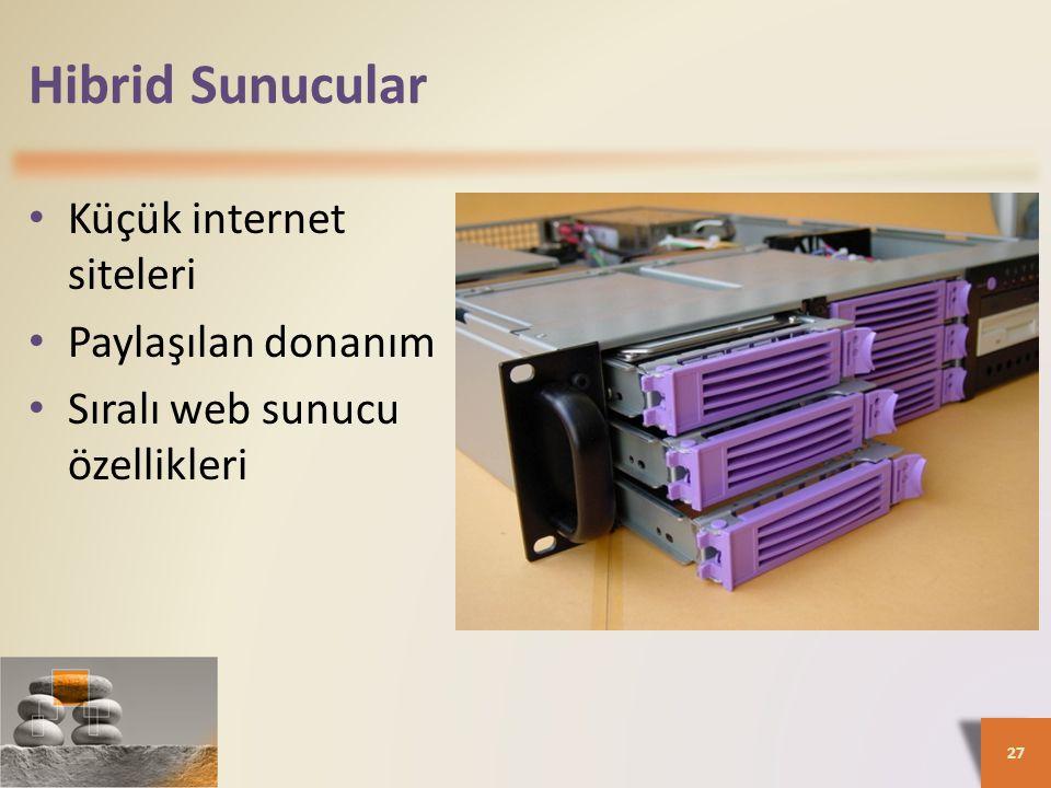 Hibrid Sunucular • Küçük internet siteleri • Paylaşılan donanım • Sıralı web sunucu özellikleri 27