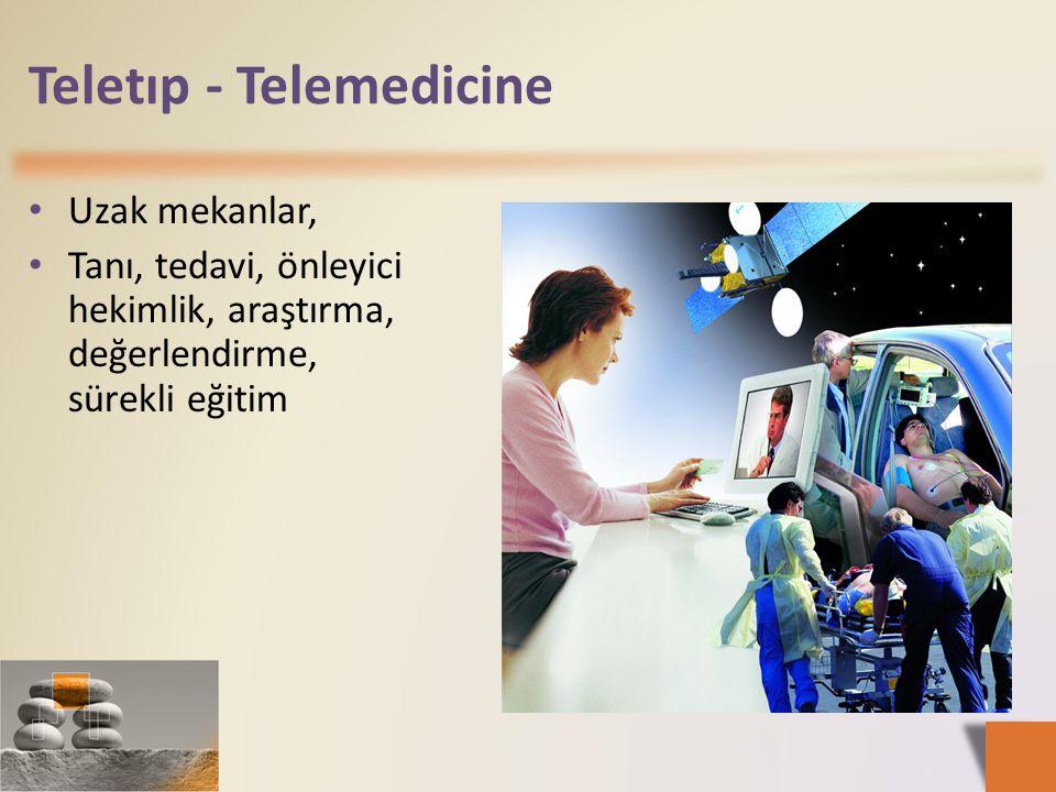 Teletıp - Telemedicine • Uzak mekanlar, • Tanı, tedavi, önleyici hekimlik, araştırma, değerlendirme, sürekli eğitim