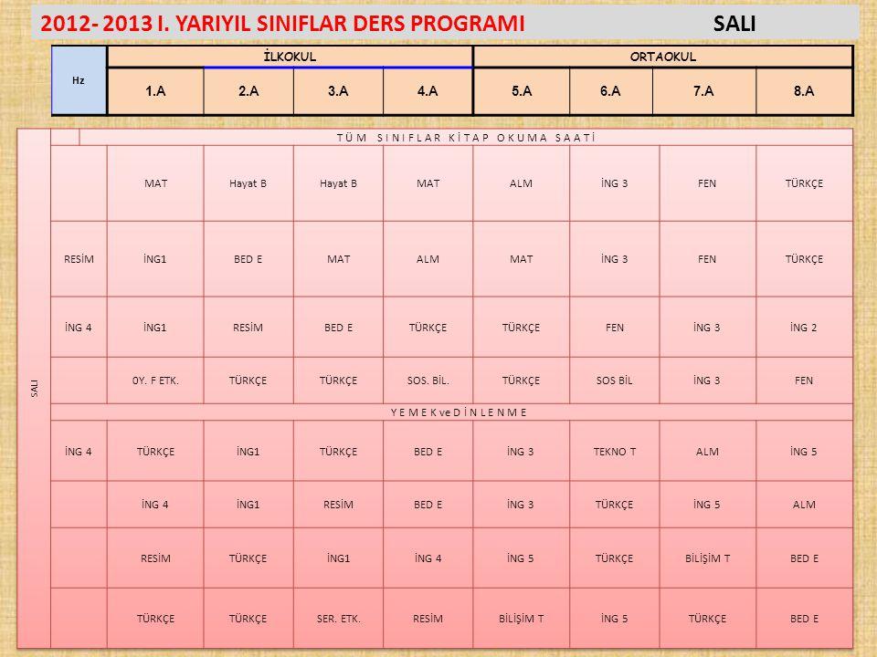 2012- 2013 I. YARIYIL SINIFLAR DERS PROGRAMISALI Hz İLKOKULORTAOKUL 1.A2.A3.A4.A5.A6.A7.A8.A