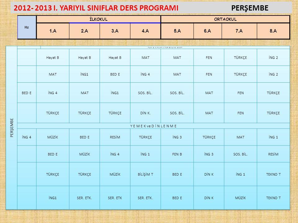 2012- 2013 I. YARIYIL SINIFLAR DERS PROGRAMIPERŞEMBE Hz İLKOKULORTAOKUL 1.A2.A3.A4.A5.A6.A7.A8.A