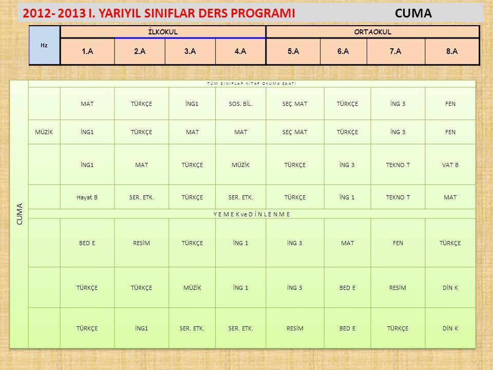 2012- 2013 I. YARIYIL SINIFLAR DERS PROGRAMICUMA Hz İLKOKULORTAOKUL 1.A2.A3.A4.A5.A6.A7.A8.A