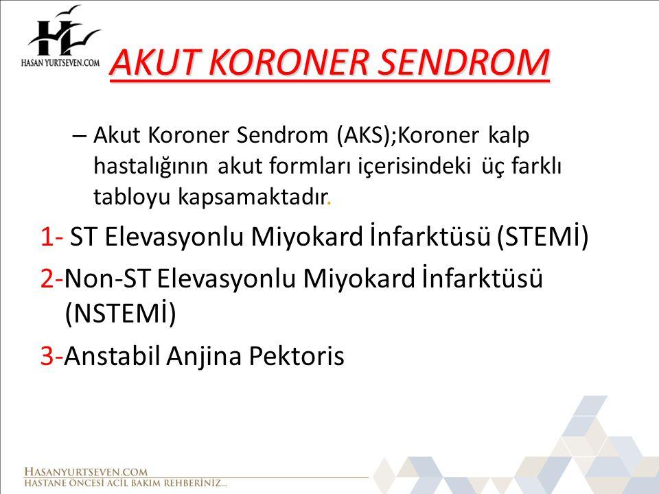 AKUT KORONER SENDROM – Akut Koroner Sendrom (AKS);Koroner kalp hastalığının akut formları içerisindeki üç farklı tabloyu kapsamaktadır. 1- ST Elevasyo