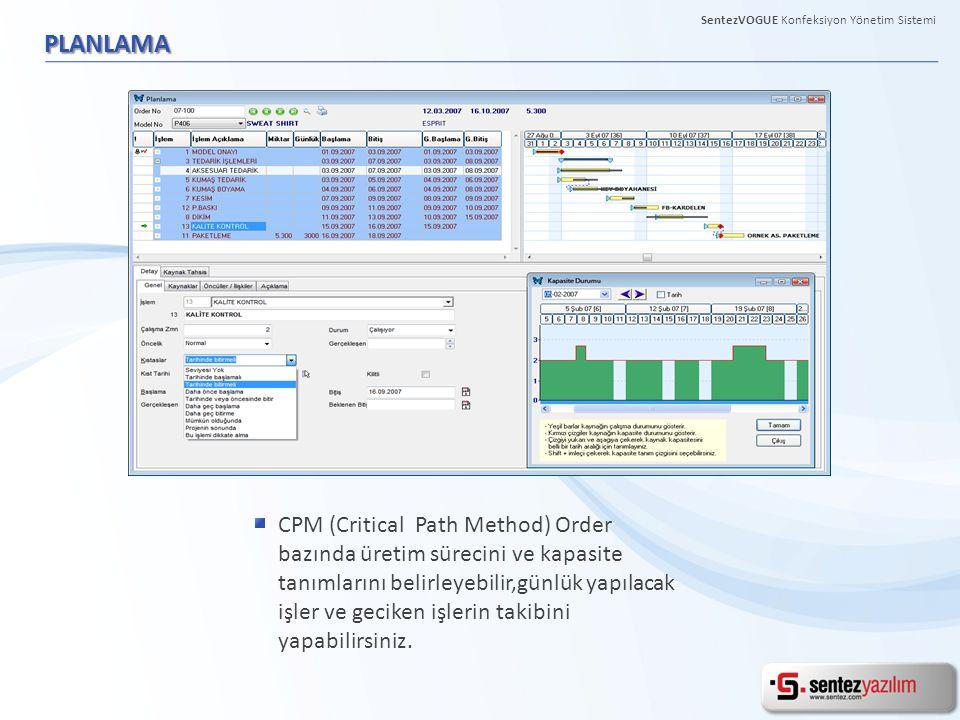 PLANLAMA CPM (Critical Path Method) Order bazında üretim sürecini ve kapasite tanımlarını belirleyebilir,günlük yapılacak işler ve geciken işlerin takibini yapabilirsiniz.