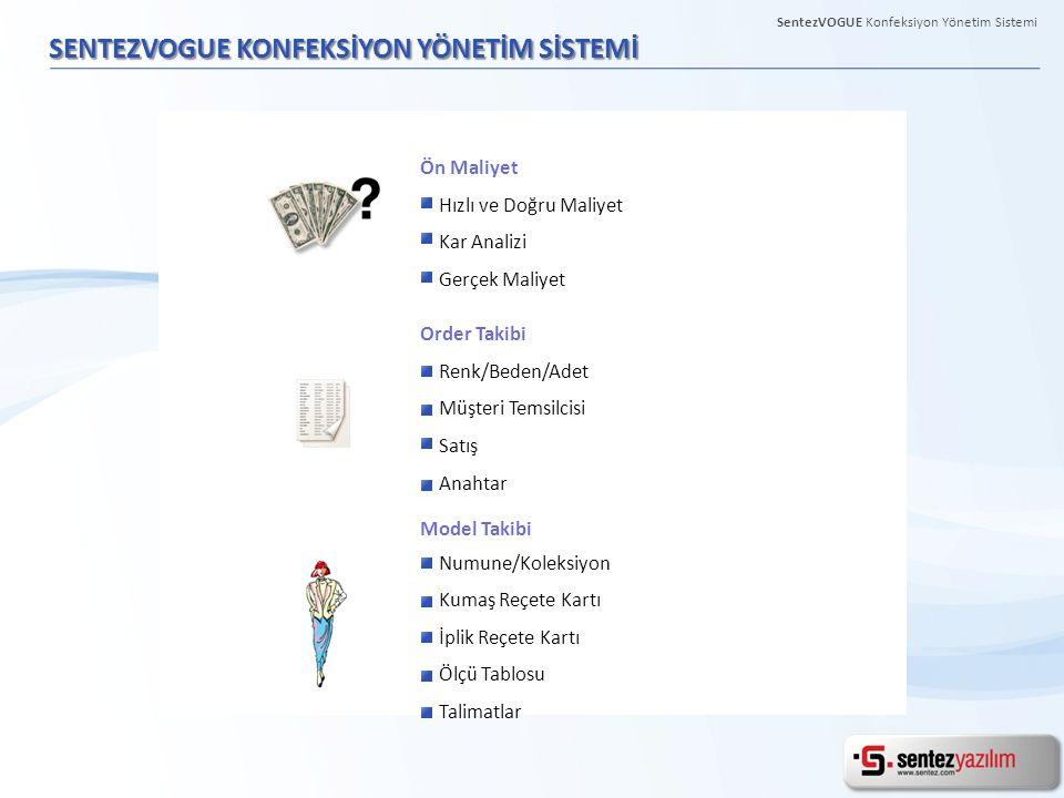 MODEL ÖN MALİYET SentezVOGUE Konfeksiyon Yönetim Sistemi