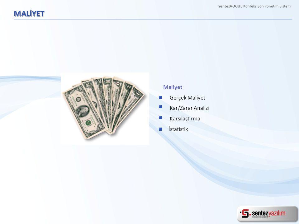 MALİYET Maliyet Gerçek Maliyet Kar/Zarar Analizi Karşılaştırma İstatistik
