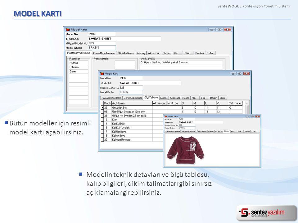 MODEL KARTI Modelin teknik detayları ve ölçü tablosu, kalıp bilgileri, dikim talimatları gibi sınırsız açıklamalar girebilirsiniz..