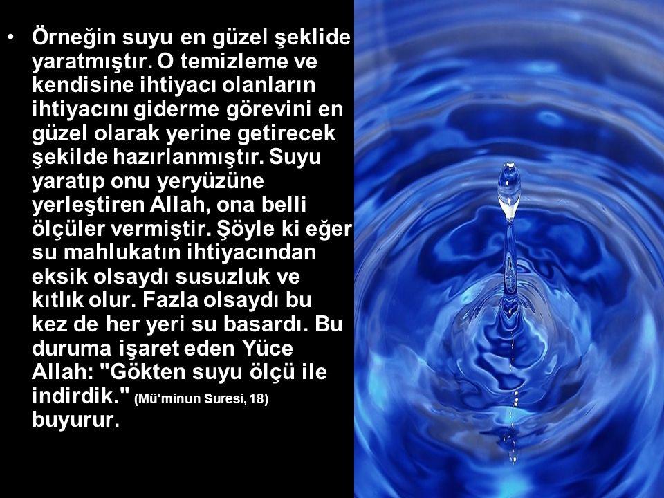 •Örneğin suyu en güzel şeklide yaratmıştır.