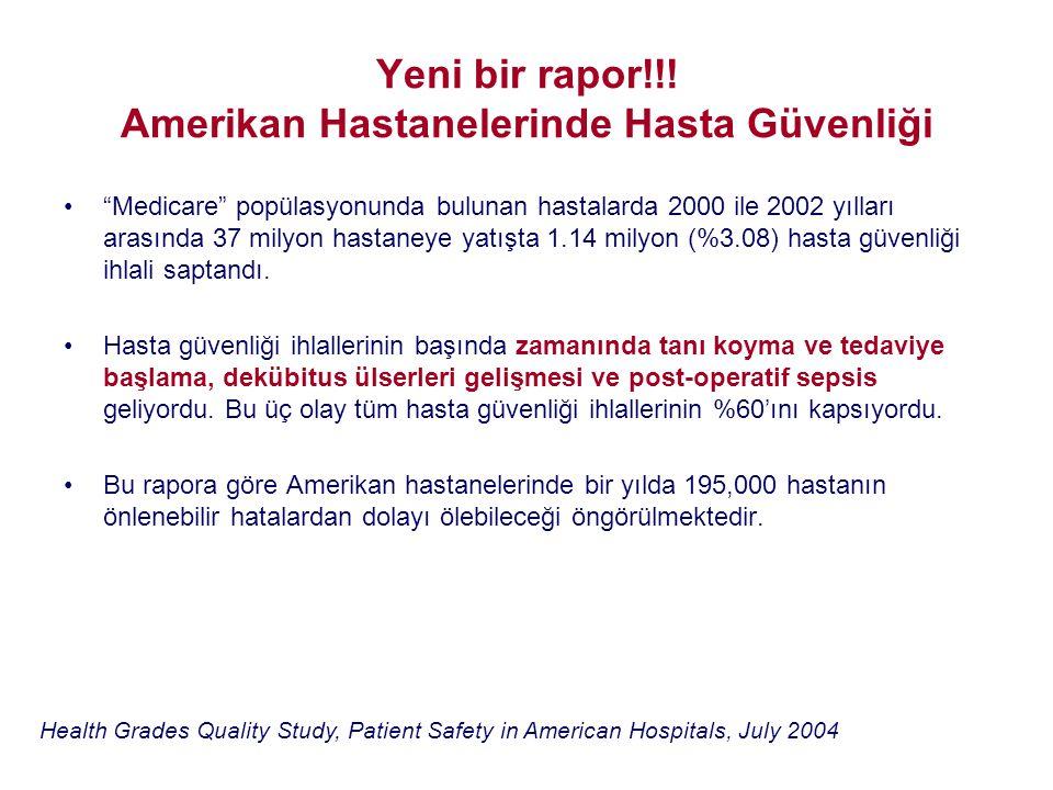 """Yeni bir rapor!!! Amerikan Hastanelerinde Hasta Güvenliği •""""Medicare"""" popülasyonunda bulunan hastalarda 2000 ile 2002 yılları arasında 37 milyon hasta"""