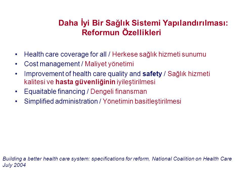 Building a Better Health Care System: Specifications for Reform/Daha İyi Bir Sağlık Sistemi Yapılandırılması: Reformun Özellikleri •Health care covera