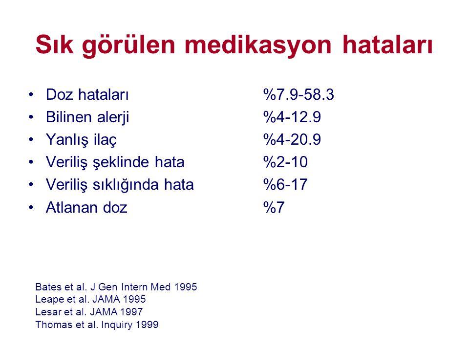 Sık görülen medikasyon hataları •Doz hataları%7.9-58.3 •Bilinen alerji%4-12.9 •Yanlış ilaç%4-20.9 •Veriliş şeklinde hata%2-10 •Veriliş sıklığında hata