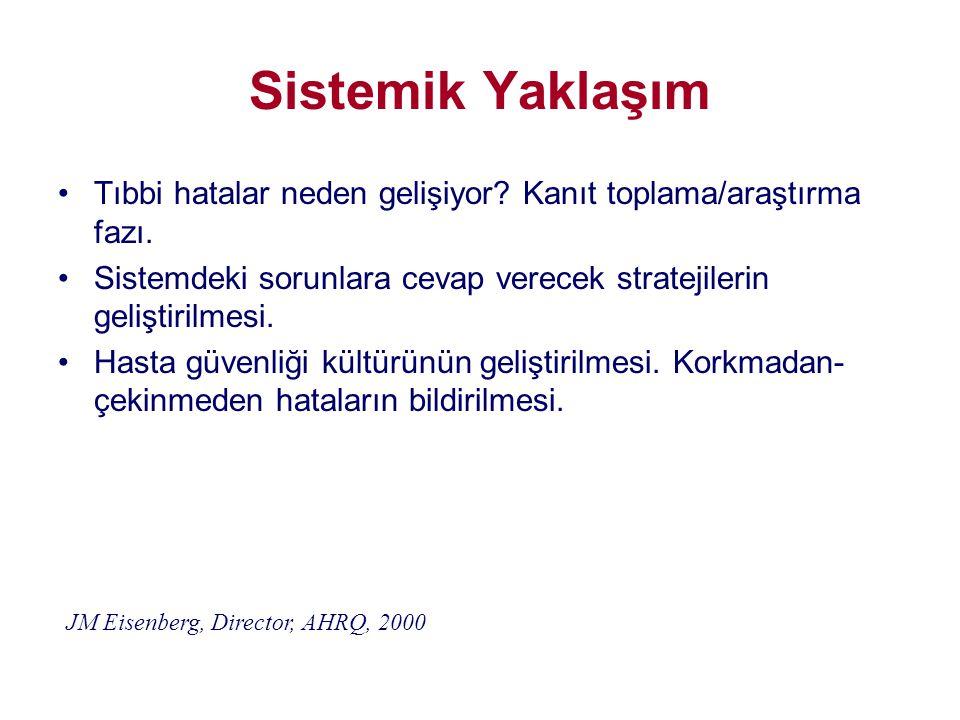 Sistemik Yaklaşım •Tıbbi hatalar neden gelişiyor? Kanıt toplama/araştırma fazı. •Sistemdeki sorunlara cevap verecek stratejilerin geliştirilmesi. •Has