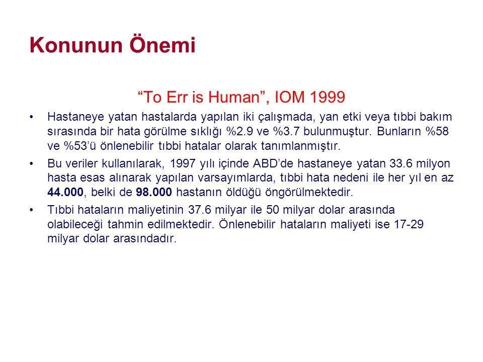 """Konunun Önemi """"To Err is Human"""", IOM 1999 •Hastaneye yatan hastalarda yapılan iki çalışmada, yan etki veya tıbbi bakım sırasında bir hata görülme sıkl"""