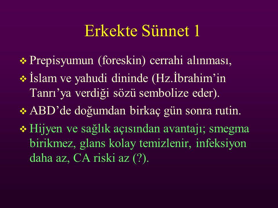 Erkekte Sünnet 1  Prepisyumun (foreskin) cerrahi alınması,  İslam ve yahudi dininde (Hz.İbrahim'in Tanrı'ya verdiği sözü sembolize eder).  ABD'de d