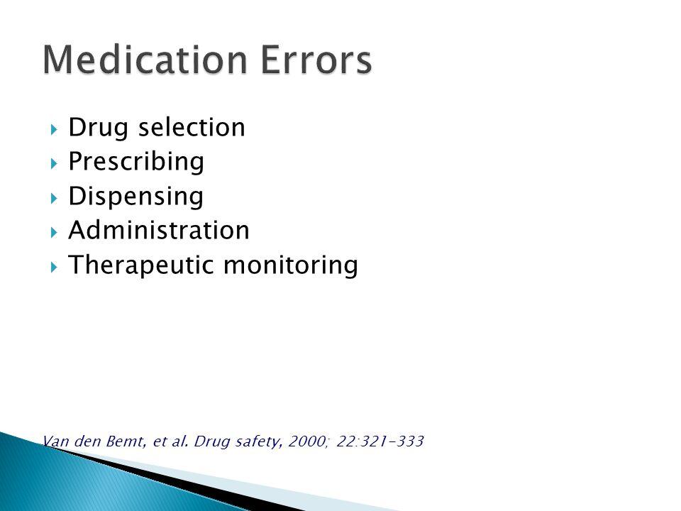  Drug selection  Prescribing  Dispensing  Administration  Therapeutic monitoring Van den Bemt, et al.