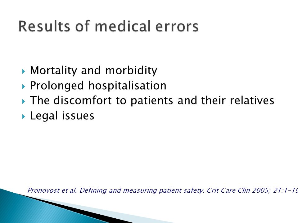  Mortality and morbidity  Prolonged hospitalisation  The discomfort to patients and their relatives  Legal issues Pronovost et al.
