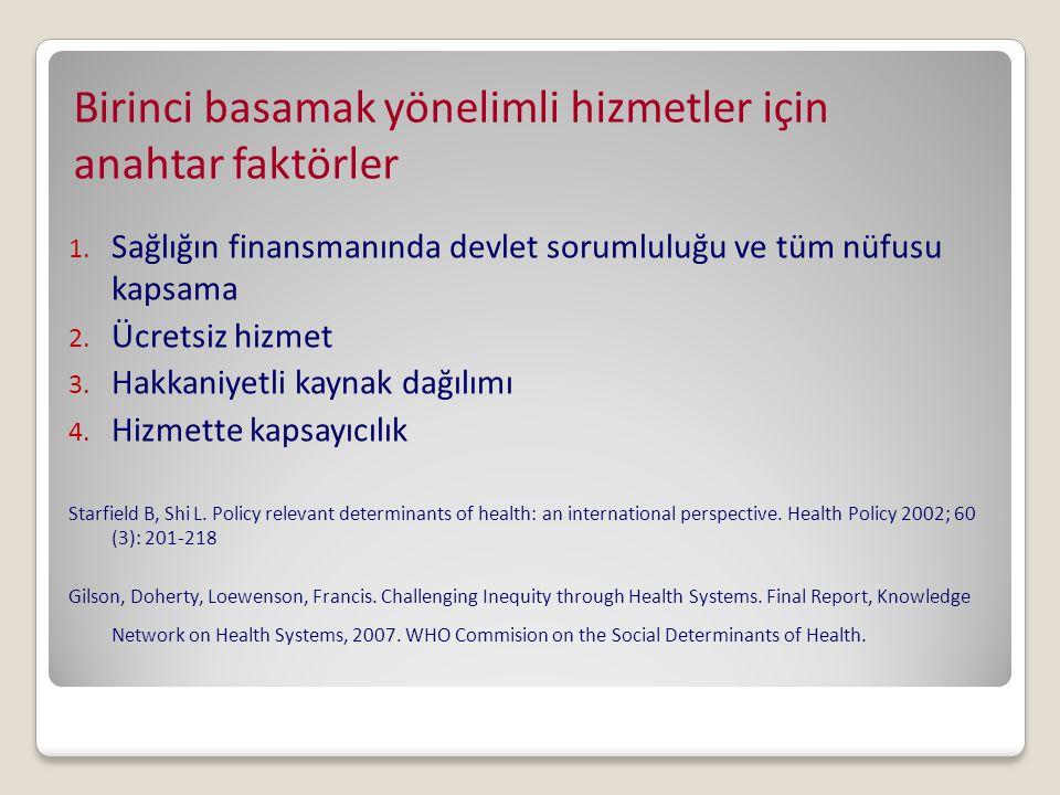 Birinci basamak yönelimli hizmetler için anahtar faktörler 1. Sağlığın finansmanında devlet sorumluluğu ve tüm nüfusu kapsama 2. Ücretsiz hizmet 3. Ha