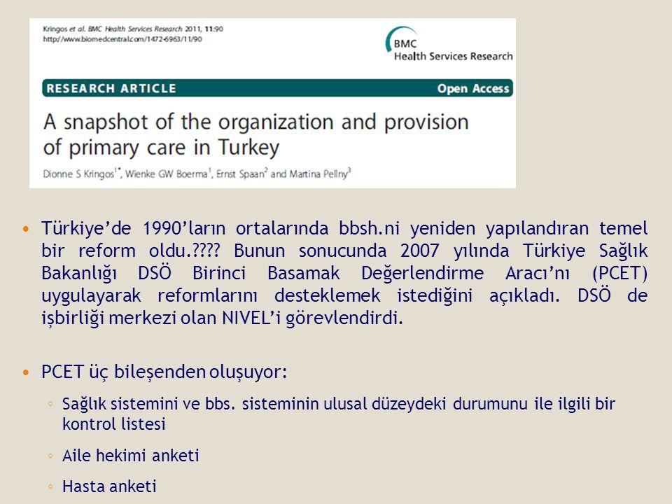  Türkiye'de 1990'ların ortalarında bbsh.ni yeniden yapılandıran temel bir reform oldu.???? Bunun sonucunda 2007 yılında Türkiye Sağlık Bakanlığı DSÖ