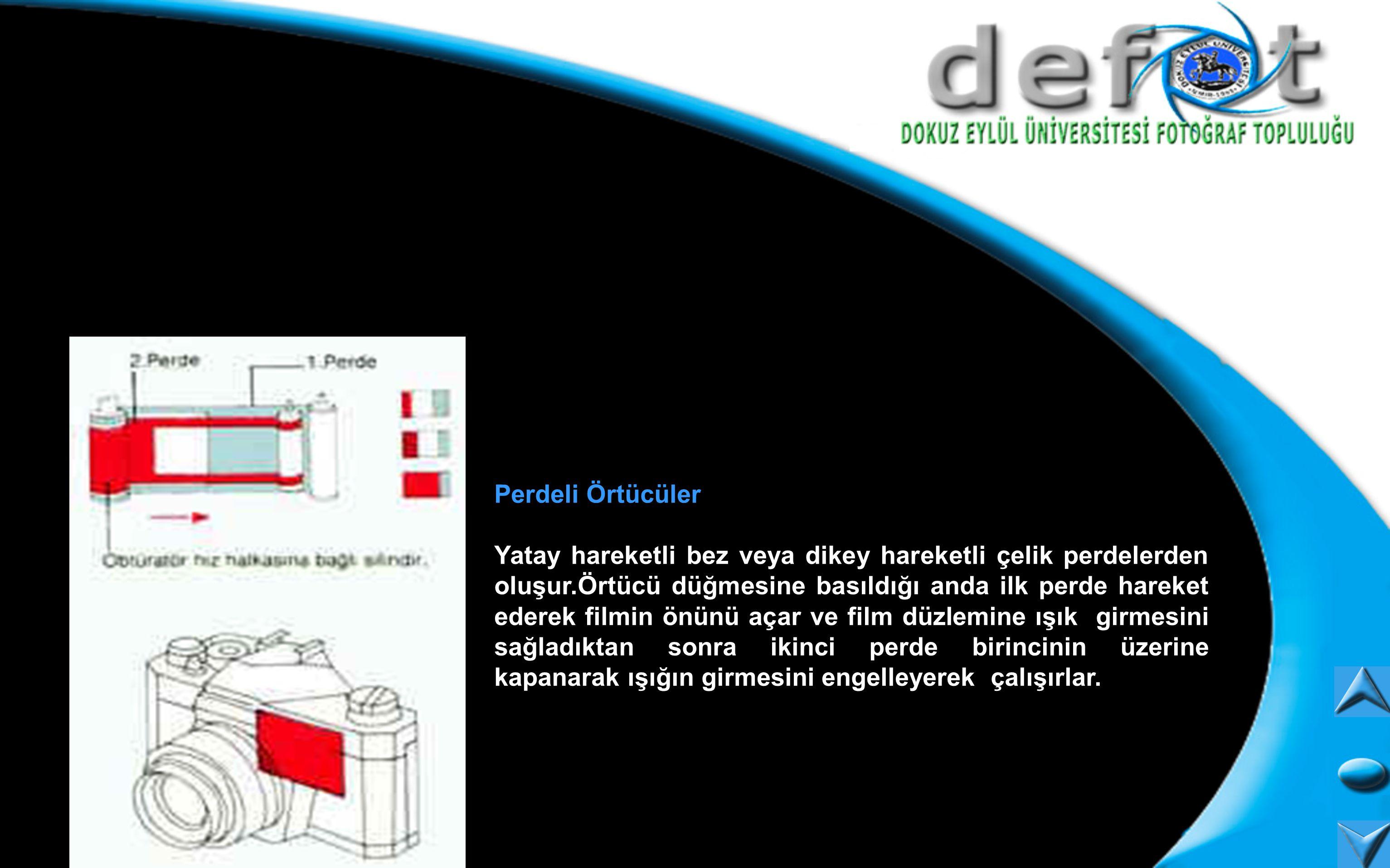 Perdeli Örtücüler Yatay hareketli bez veya dikey hareketli çelik perdelerden oluşur.Örtücü düğmesine basıldığı anda ilk perde hareket ederek filmin ön