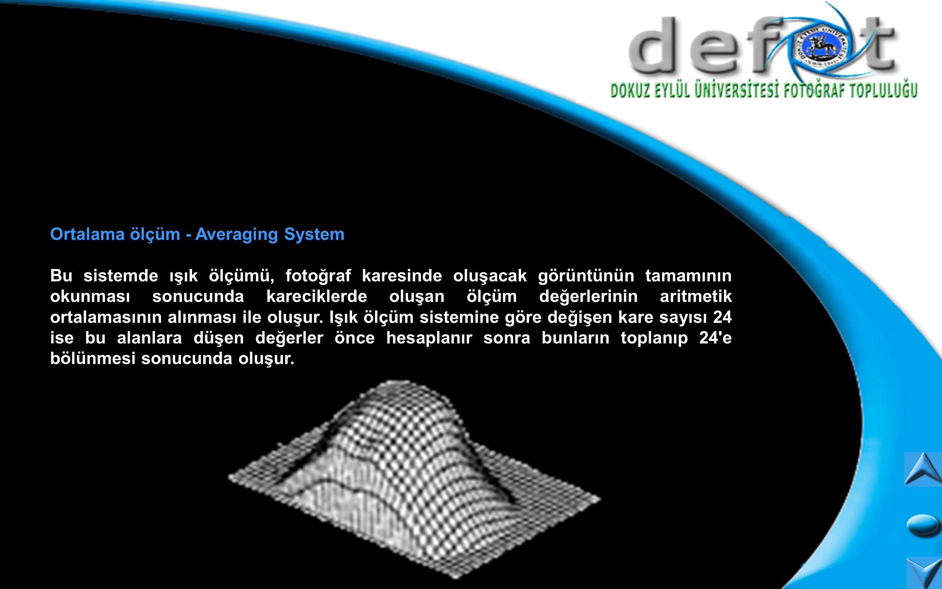 Ortalama ölçüm - Averaging System Bu sistemde ışık ölçümü, fotoğraf karesinde oluşacak görüntünün tamamının okunması sonucunda kareciklerde oluşan ölç