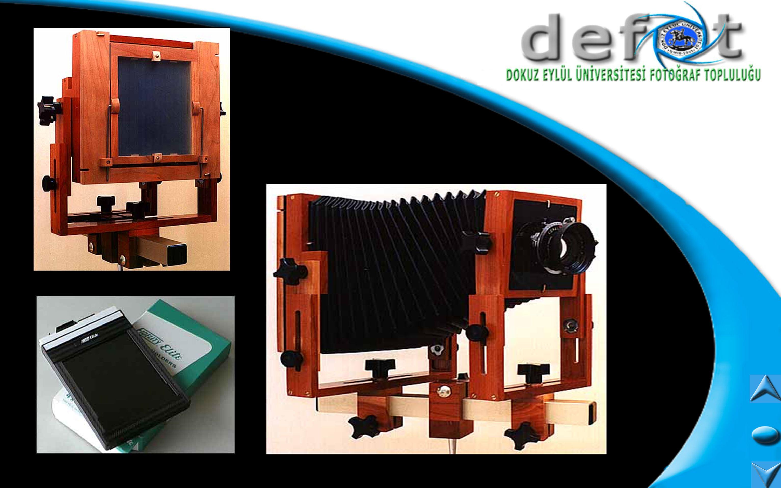 İĞNE DELİĞİ FOTOĞRAF MAKİNALARI Bu fotoğraf makinaları ilk olarak kullanılan fotoğraf makinaları olup bir kara kutunun ön kısmına açılmış olan iğne deliği büyüklüğünde olan bir delikten geçen ışık film düzlemine üzerine düşülerek görüntü elde ediliyordu.