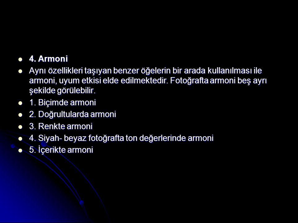  4. Armoni  Aynı özellikleri taşıyan benzer öğelerin bir arada kullanılması ile armoni, uyum etkisi elde edilmektedir. Fotoğrafta armoni beş ayrı şe