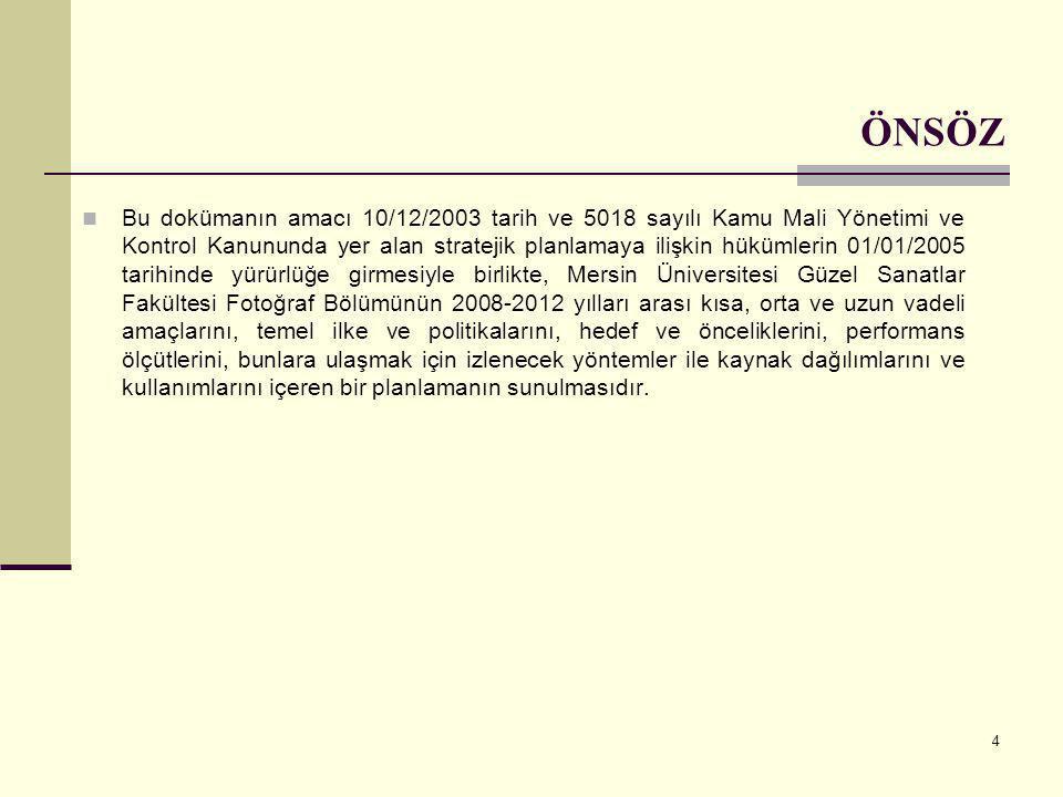 4 ÖNSÖZ  Bu dokümanın amacı 10/12/2003 tarih ve 5018 sayılı Kamu Mali Yönetimi ve Kontrol Kanununda yer alan stratejik planlamaya ilişkin hükümlerin