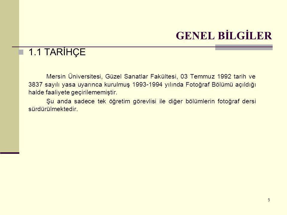 5 GENEL BİLGİLER  1.1 TARİHÇE Mersin Üniversitesi, Güzel Sanatlar Fakültesi, 03 Temmuz 1992 tarih ve 3837 sayılı yasa uyarınca kurulmuş 1993-1994 yıl