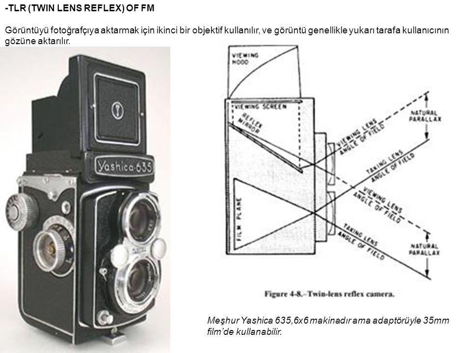 -TLR (TWIN LENS REFLEX) OF FM Görüntüyü fotoğrafçıya aktarmak için ikinci bir objektif kullanılır, ve görüntü genellikle yukarı tarafa kullanıcının gö