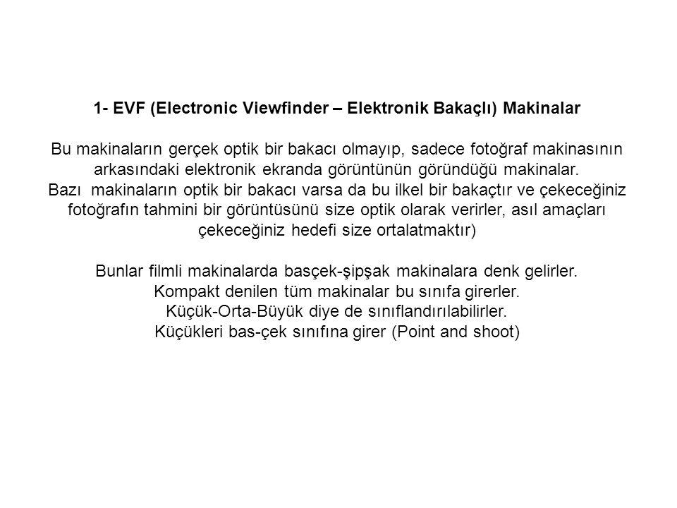 1- EVF (Electronic Viewfinder – Elektronik Bakaçlı) Makinalar Bu makinaların gerçek optik bir bakacı olmayıp, sadece fotoğraf makinasının arkasındaki