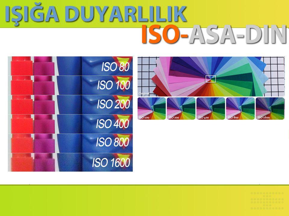 • Yüksek ISO değeri genellikle 800 ve üstü ISO değerleri için kullanılır. • Bu değerler ışığa karşı yüksek düzeyde duyarlılığı gösterir. Bu nedenle, o